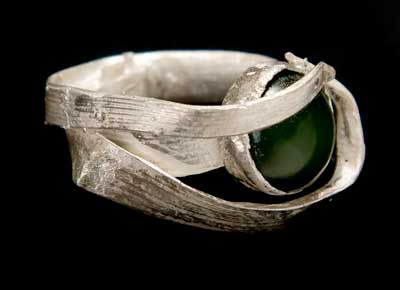 Jade Grass Ring by Kathleen Carricaburu