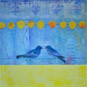 Quaking Aspen With Blue Bird