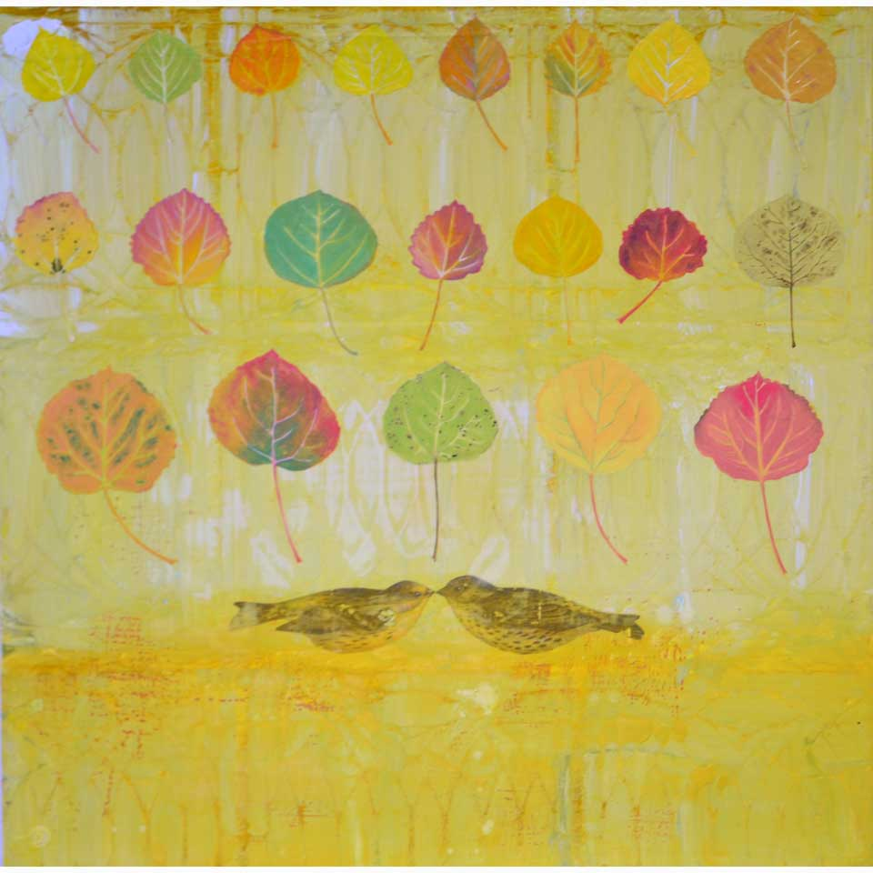 Trembling Aspen With Yellow Bird by Diana Stetson