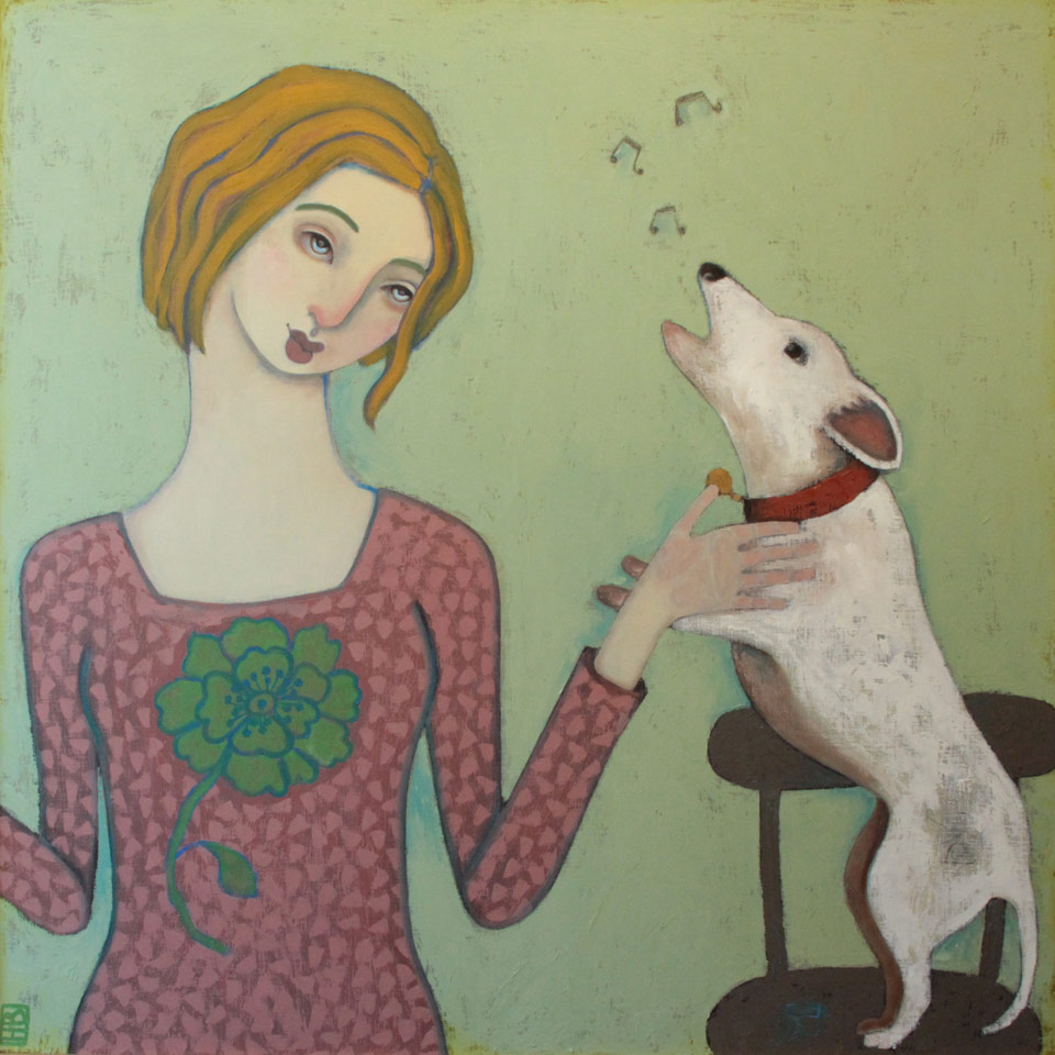 Having A Conversation With A Dog by Heather Barron