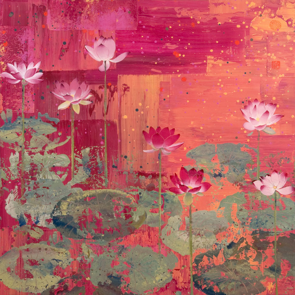 Seven Lotus Blossoms by Diana Stetson
