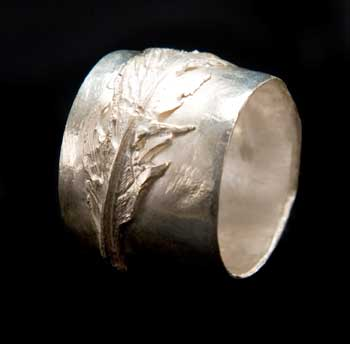 Feather band ring by Kathleen Carricaburu