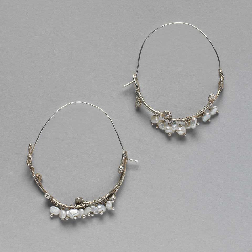 Wintry Elm Branch earrings by Kathleen Carricaburu