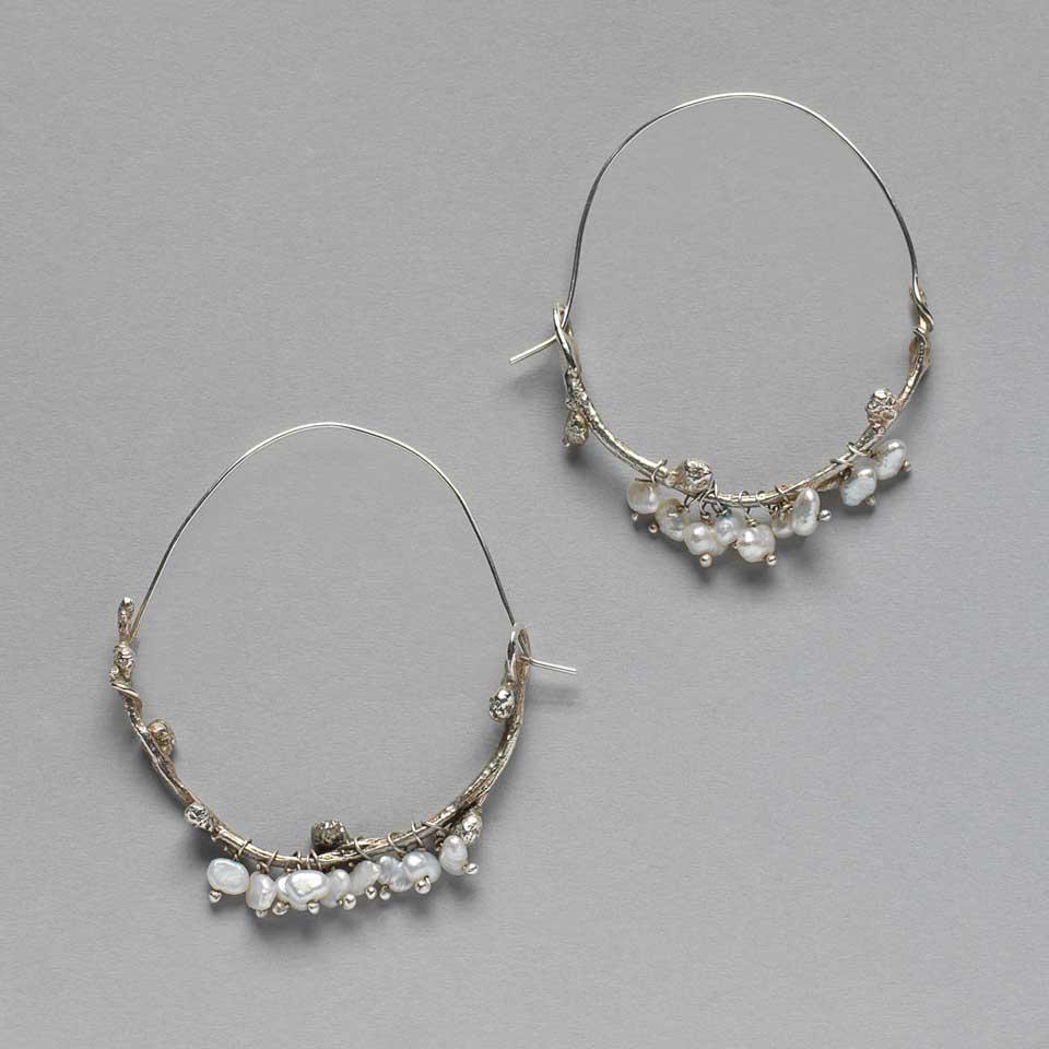 Wintry Elm Branch earrings by Kathleen Carricaburu