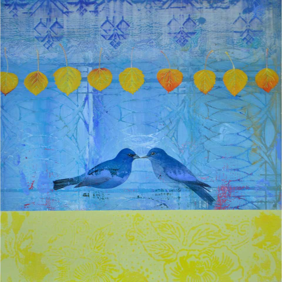 Quaking Aspen With Blue Bird by Diana Stetson
