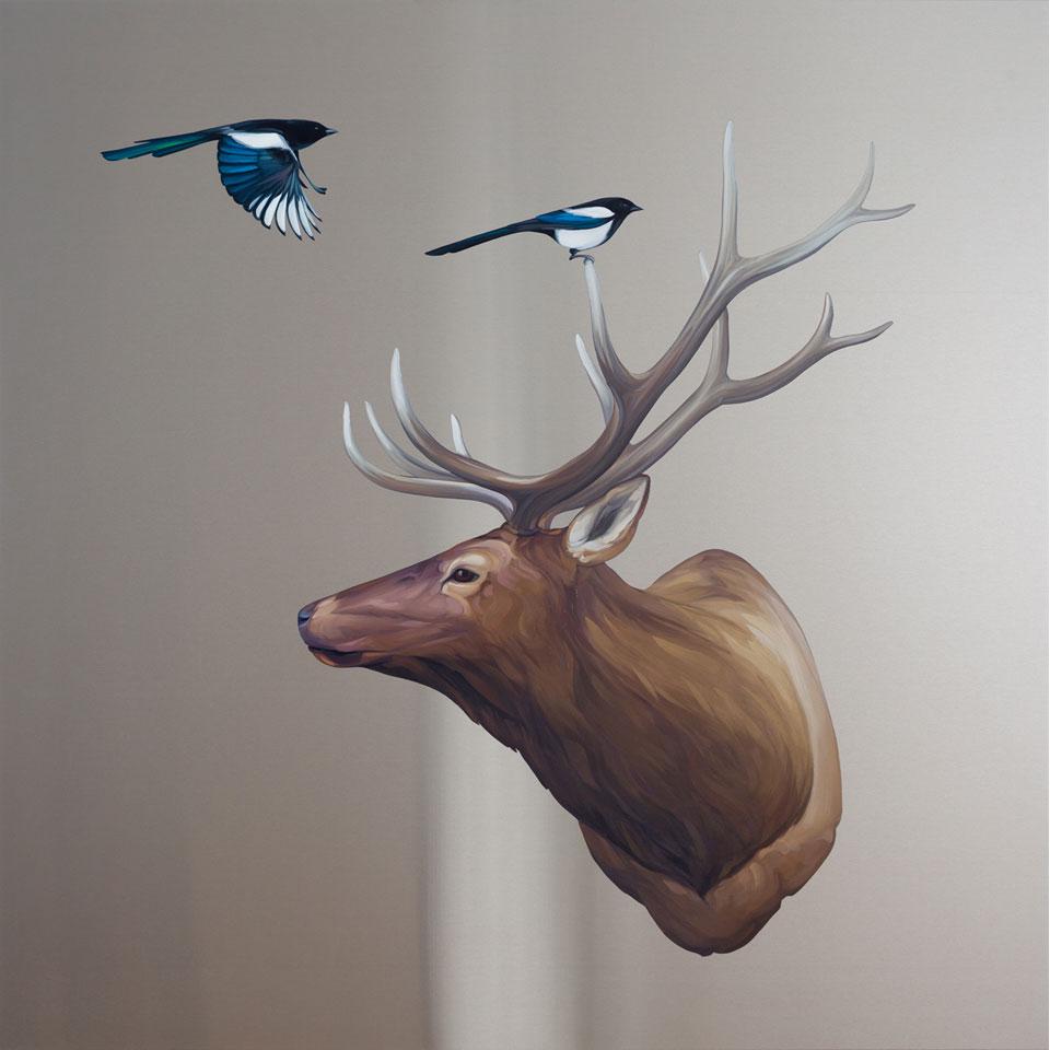 Elk with Magpies by Mai Wyn Schantz